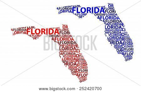 Sketch Florida (united States Of America, The Sunshine State) Letter Text Map, Florida Map - In The