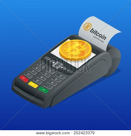 Isometric Payment Machine, Paying By Bitcoin To Pay A Bill. Nfc Payments. Pos Terminal Confirms The