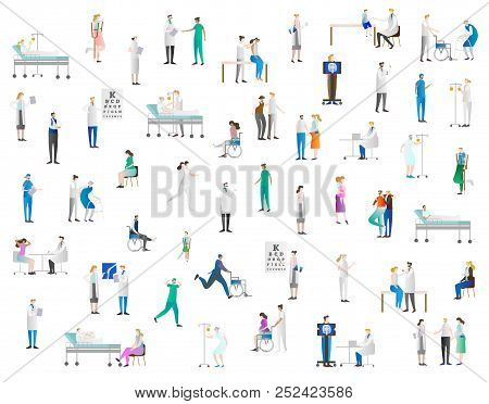Hospital Vector Illustration Icon Collection Set. Healthcare And Medicine Test,diagnosis, Exam And P