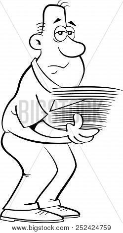 Black And White Illustration Of A Weary Man With An Armload Of Papers