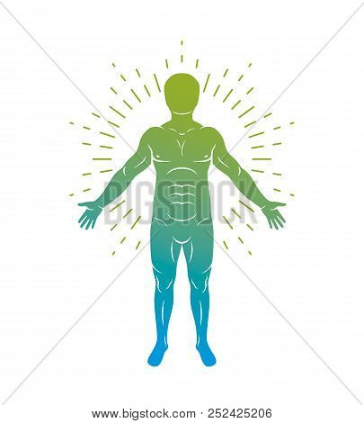 Vector Graphic Illustration Of Muscular Human, Self. Human Being As Center Of The Universe.