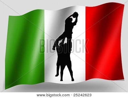 Country Flag Sport Icon Silhouette Italian Rugby Linout