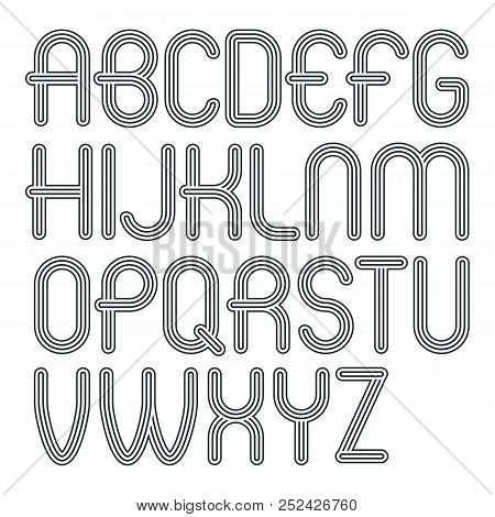 Set Of Trendy Modern Vector Capital Alphabet Letters Isolated. Disco Rounded Font For Use As Busines