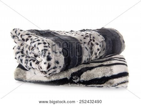 synthetic blanket in front of white background poster