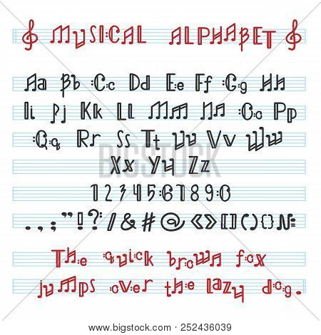 Alphabet Abc Vector Musical Alphabetical Font With Music Note Letters Of Alphabetic Typography Illus