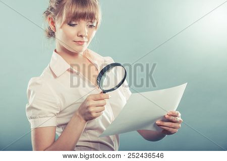 Business Woman Using Magnifying Glass To Check Contract Instagram Filter Photo