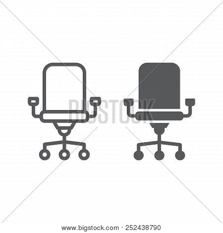Office Chair Line And Glyph Icon, Office And Work, Chair Sign, Vector Graphics, A Linear Pattern On