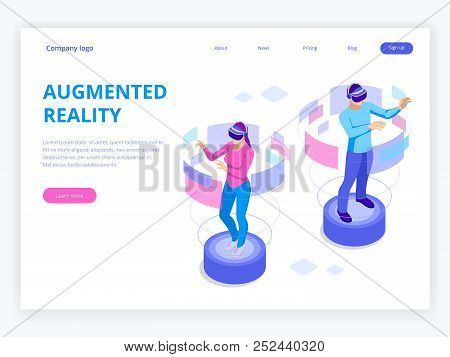 Isometric Man And Woman Wearing Virtual Reality Goggles. Augmented Realty Concept. Man Wearing Goggl