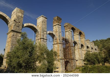 The Roman aqueduct at Moria Lesvos Greece. Built to carry water to the island's capital Mytilene. poster