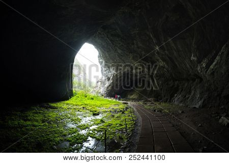 Entrance to the Kapova Cave located in the Shulgan Tash Nature Reserve, Ural, Russia