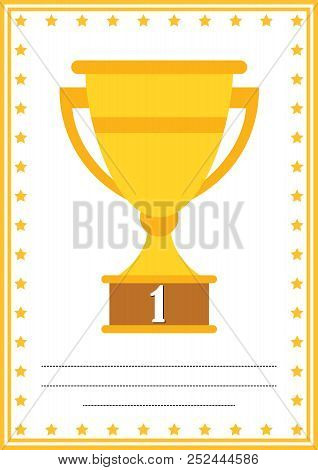 Modern Diploma With Trophy Certificate With Place For Your Content, For Kids First Place .