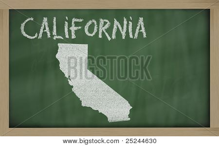 Outline Map Of California On Blackboard
