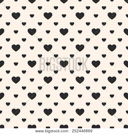 Vector Seamless Pattern With Small Hearts. Valentines Day Background. Abstract Geometric Black And W