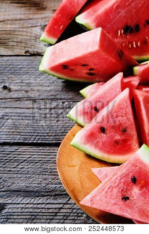 Fresh Sliced Watermelon Wooden Background With Copyspace