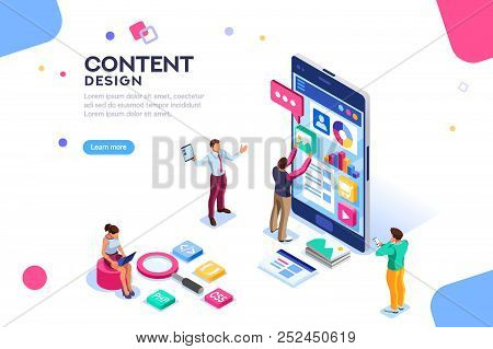 Software Infographics, Code Place, Idea For Designer Content. Ui Design Concept With Character And T