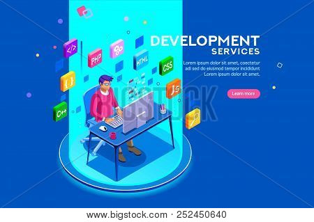 Device With Character Concept. Program Developer Creating Website Writing Software At Computer Deskt
