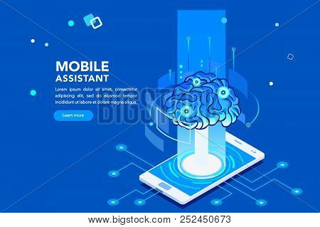 Flat Isometric Banner, Ai Of The Future. Smartphone Or Geometric Laptop Mind, Machine Application Wi