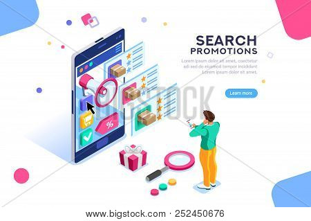 Social Campaign For Buying And Rating. Product Moving On Website For Search Or Promotion Map. Seo Vi