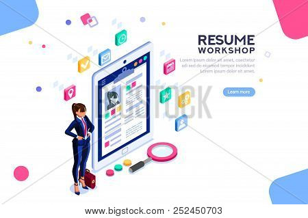 Web Page, Banner For Resume Resources. Employer, Customer, Boss Recruit. Businesswoman Isometric Hum
