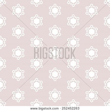 Vector Abstract Minimalist Geometric Seamless Pattern. Subtle Background With Snowflakes, Floral Sha