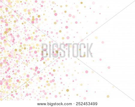 Rose Gold Confetti Circle Decoration For New Year Card Background. Holiday Vector Illustration. Gold