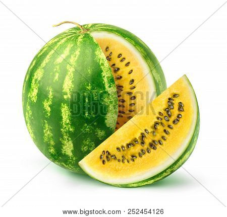 Isolated Watermelon. One Watermelon Of Yellow Variety With A Cut Out Slice Isolated On White Backgro