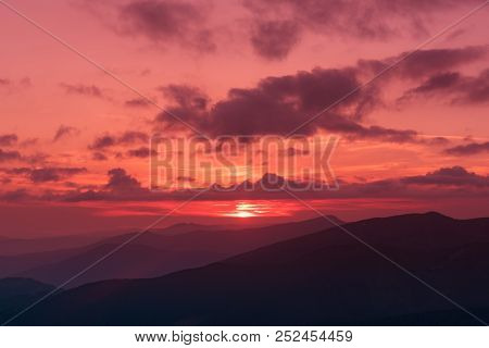 Amazing Mountain Landscape With Colorful Vivid Sunset On The Bright Sky, Natural Outdoor Travel Back