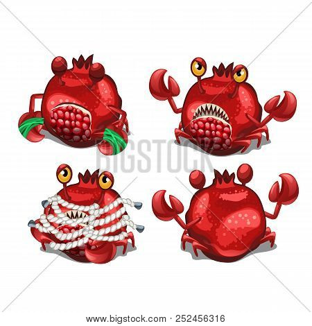 Trapped Fancy Monster In The Form Of A Crab Disguised In A Pomegranate Isolated On A White Backgroun
