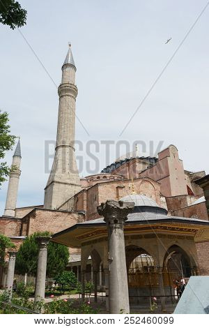 June 2018, Istanbul, Turkey. Mosque, Cathedral And Museum Hagia Sophia In The Historical Center Of I