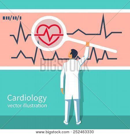 Cardiology Concept. Cardiologist Doctor Holds A Magnifying Glass In The Hands, Looks Cardiogram. Red