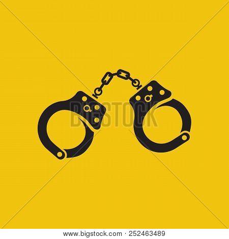 Handcuffs Icon Black Silhouette. Vector Illustration. Flat Design Style. Arrest Symbol. Punishment F