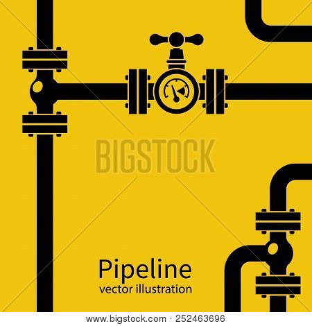 Pipeline Background Black Silhouette. Pipe System With Valves For Water Of Gas Oil. Vector Illustrat