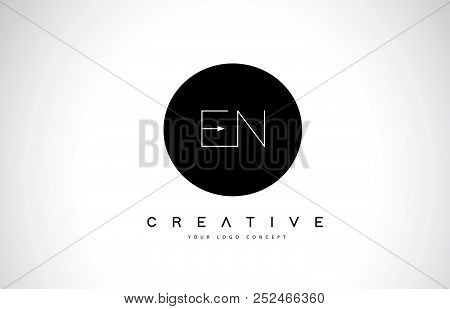 En E N Logo Design With Black And White Creative Icon Text Letter Vector.