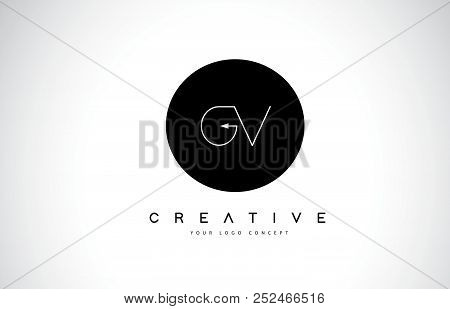 Gv G V Logo Design With Black And White Creative Icon Text Letter Vector.