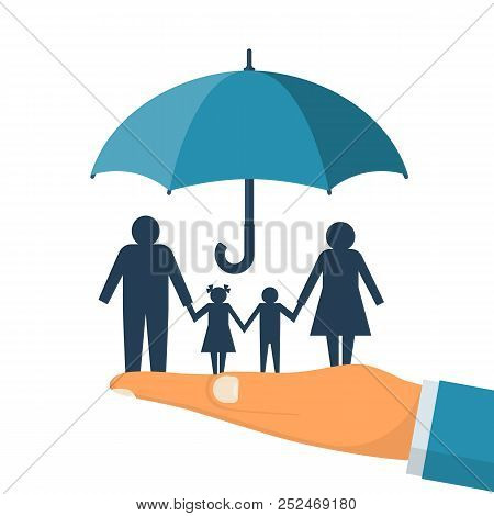 Family Protection. Insurance Concept. Vector Illustration Flat Design. Isolated On White Background.
