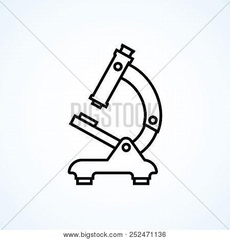 Microscope Icon Minimal Design Black Line. Medical Diagnostics, Laboratory, Research, Education. Vec