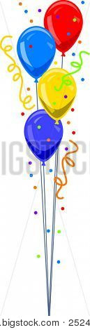 Bunch of Balloons with Confetti Vector Illustration