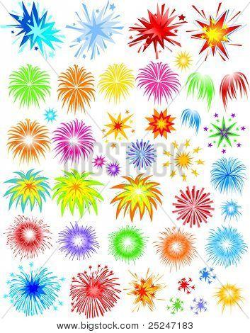 Ilustração do vetor de fogos de artifício de diferentes tipos e variedades