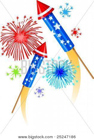 Fireworks and Bottle Rockets Vector Illustration