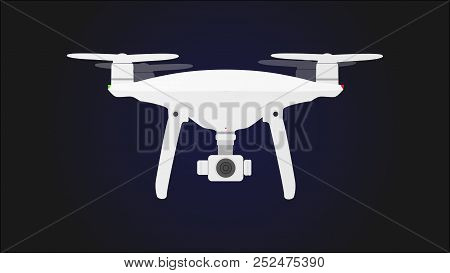 Drone With Camera Vector .uav Drone Copter. Photo And Video Drone Icon Vector .drone Copter Flying W