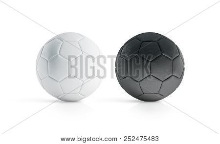 Blank Black And White Soccer Ball Mock Up, Isolated, 3d Rendering. Empty Football Sphere Mockup, Iso
