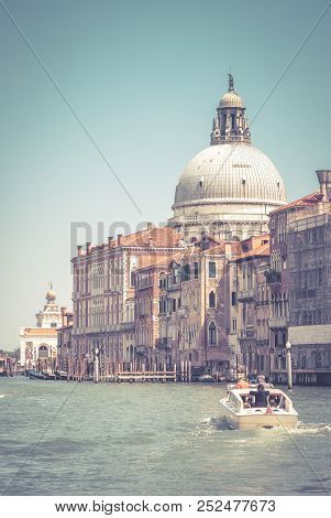 Grand Canal And Dome Of Santa Maria Della Salute, Venice, Italy. Grand Canal Is One Of The Main Tour