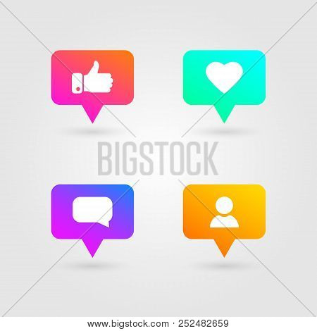 Like, Thumbs Up And Love Icons Set. Social Media Elements. Bright Gradients Collection. Social Netwo