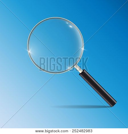 Loupe, Magnifying Glass. Stock Vector Isolated On A Blue Background