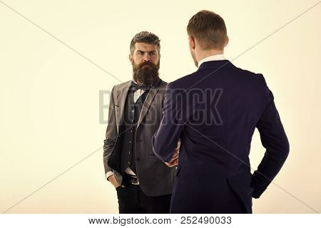 Men In Classic Suits, Businessmen, Business Partners Meeting, White Background, Isolated. Businessme