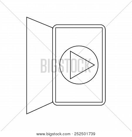 Ebook Reader Media Player Interface Icon In Outline Style On A White Background