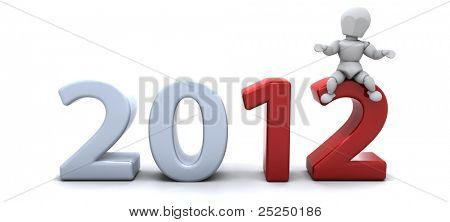 3D render of a man Bringing the new year in
