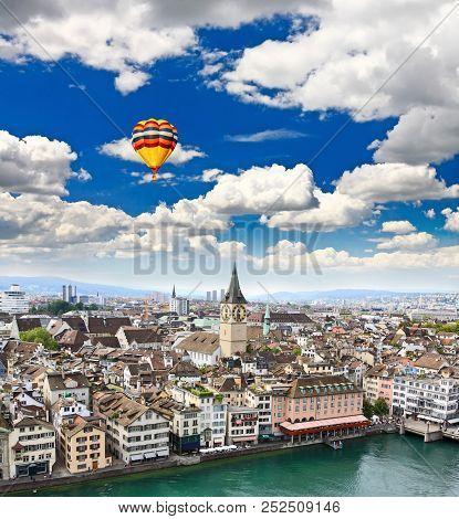 The Aerial View Of Zurich City Switzerland