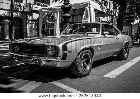 Berlin - June 09, 2018: Muscle Car Chevrolet Camaro, 1969. Black And White. Classic Days Berlin 2018
