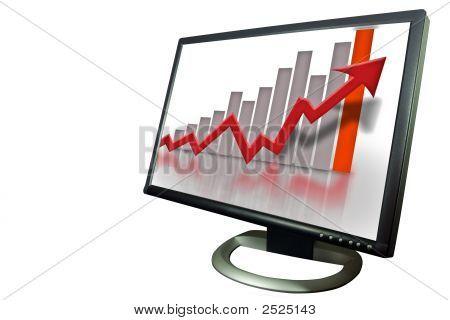 Monitor finanzielle Bar Graph-Diagramm